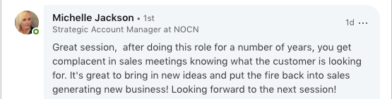 Feedback from NOCN about Plan Grow Do sales training in Sheffield.